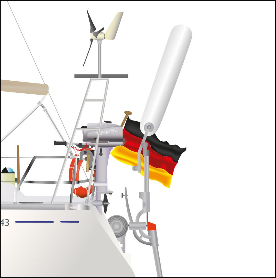 Detail-Darstellung Aussenborder, Selbststeueranlage, Solarpanel, Windgenerator einer Yacht.