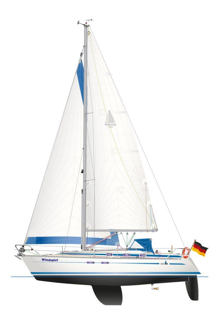 BAVARIA 350 3 Kabinen - digitale Schiffsriss Graphik, als individuelles Yacht Portrait.
