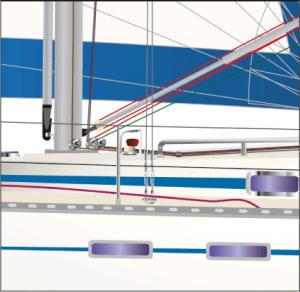 BAVARIA Baumniederholer-Detail - graphische Darstellung des Baumniederholers beim individuellen Yacht-Portrait.