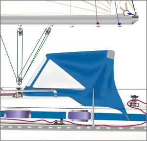 BAVARIA Sprayhood - graphische Darstellung der Sprayhood beim individuellen Yacht-Portrait.