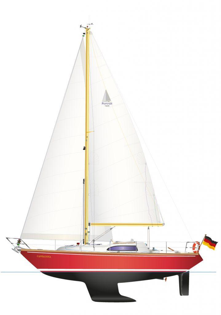 DUFOUR ARPÈGE - digitale Schiffsriss Graphik, als individuelles Yacht Portrait.