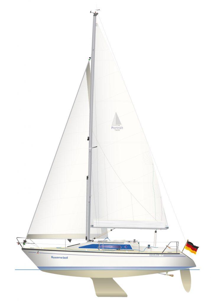 Digitale Yachtriss Zeichnung Dehler 31, Baujahr 1992.