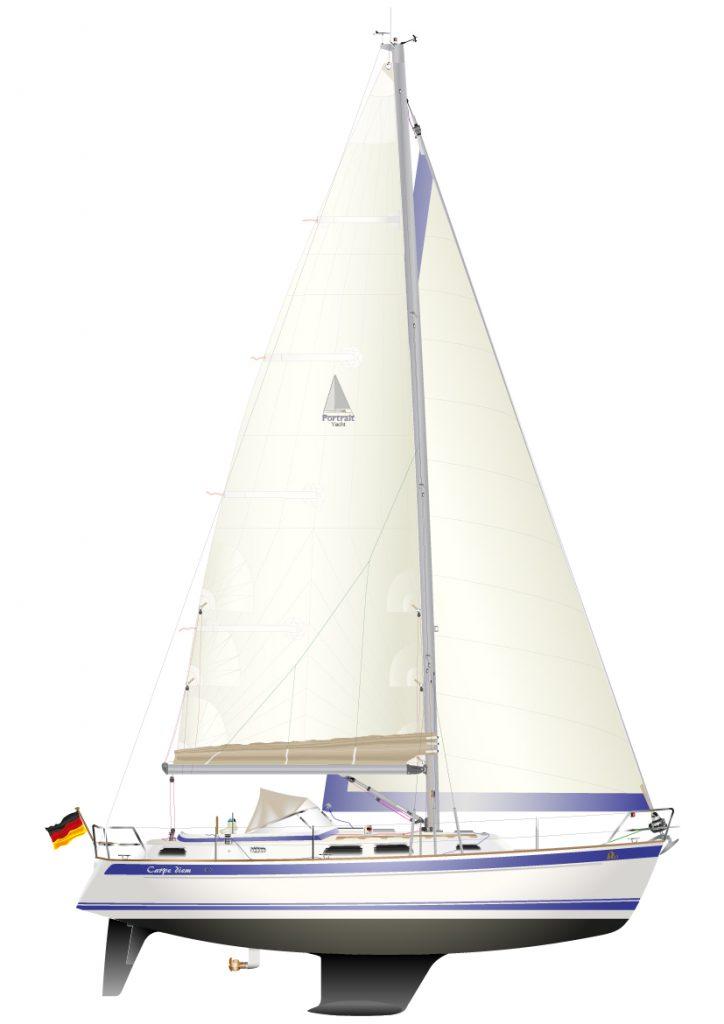 HALLBERG_RASSY_37 - digitale Schiffsriss Graphik, als individuelles Yacht Portrait.