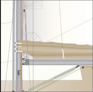 JEANNEAU 43 Standardgoß, digitale Graghik der Detailbeschreibung eines Lazybag-Systems.