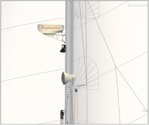 Radar- Antenne SUN ODYSSEY 43 - digitale Graphik der Radar-Antenne.