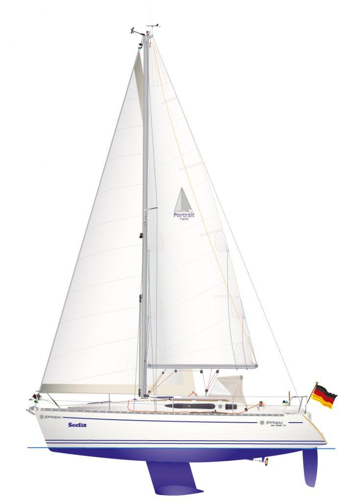 JEANNEAU 32.2 - digitale Schiffsriss Graphik, als individuelles Yacht Portrait.